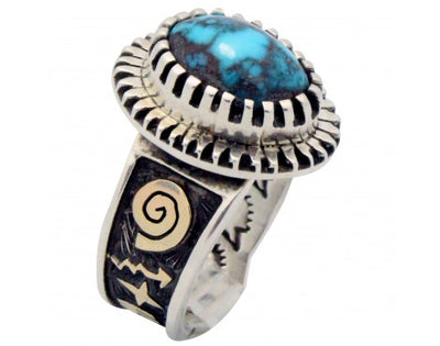 Load image into Gallery viewer, Arland Ben, Ring, 14k Gold, Sterling Silver, Candelaria Turquoise, Navajo 11