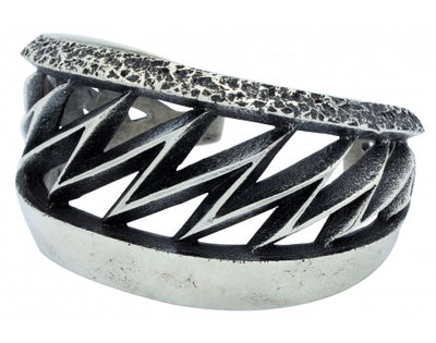 Load image into Gallery viewer, Aaron Anderson, Tufa Bracelet, Lightning, Sterling Silver, Navajo Made, 6.5 in