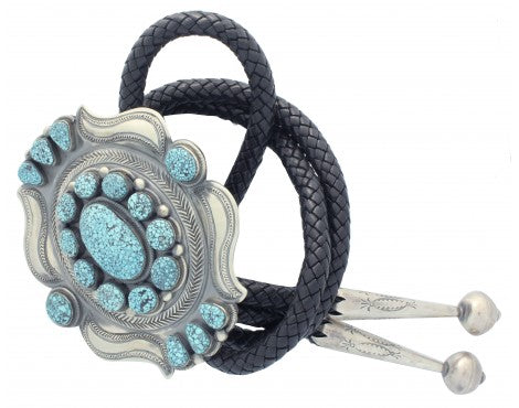 Leon Martinez, Bolo, Kingman Turquoise, Cluster, Sterling Silver, Navajo Made,48