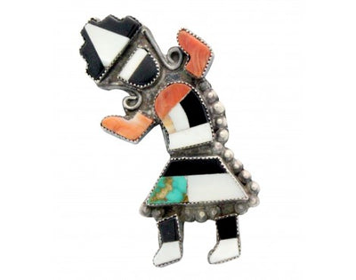 Load image into Gallery viewer, Zuni Rainbow Man Pin, Turquoise, Shells, Jet, Handmade, Circa 1940s