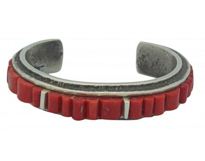 Load image into Gallery viewer, Lester James, Tufa Cast Bracelet, Mediterranean Coral, Silver, Navajo Made, 6.5