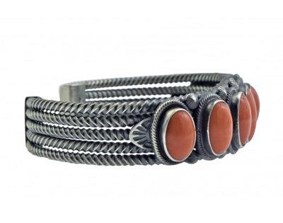 Load image into Gallery viewer, Freddie Maloney, Bracelet, 7 Mediterranean Coral, Sterling Silver, Navajo Made