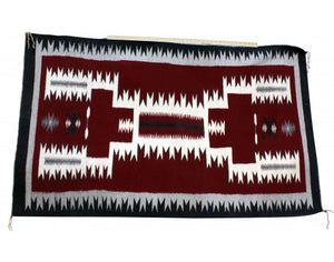 Susie Joe, Red Storm Pattern Rug, Navajo Handwoven, 42 in x 71 in