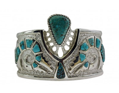 Load image into Gallery viewer, Michael Perry, Bracelet, Lone Mountain Turquoise, Parrot, Navajo Made, 6 1/4