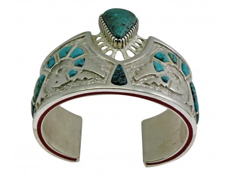 Michael Perry, Bracelet, Lone Mountain Turquoise, Parrot, Navajo Made, 6 1/4