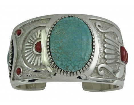 Michael Perry, Bracelet, Number Eight Turquoise, Mediterranean Coral, Navajo, 6 1/8