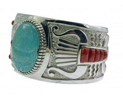 Load image into Gallery viewer, Michael Perry, Bracelet, Number Eight Turquoise, Mediterranean Coral, Navajo, 6