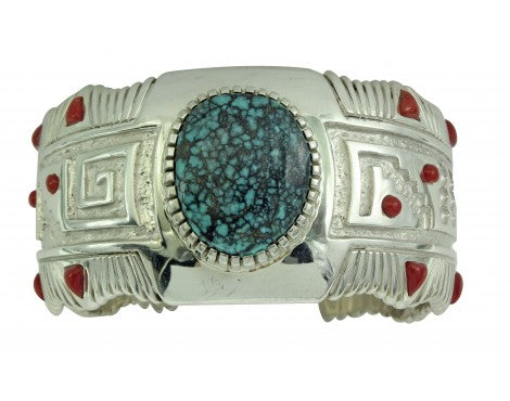 Michael Perry, Bracelet Chinese Web Turquoise, Mediterranean Coral, Navajo 6 3/4