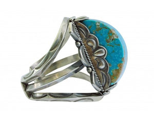 Dave Lister, Bracelet, Carved Kingman Turquoise, Traditional Navajo Silver 6 3/4