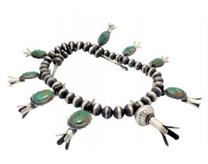 Derrick Cadman, Necklace, Squash Blossom, Fox Turquoise, Navajo Handmade 31 in