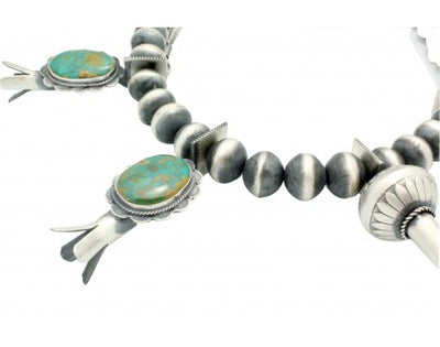 Load image into Gallery viewer, Derrick Cadman, Necklace, Squash Blossom, Fox Turquoise, Navajo Handmade 31 in