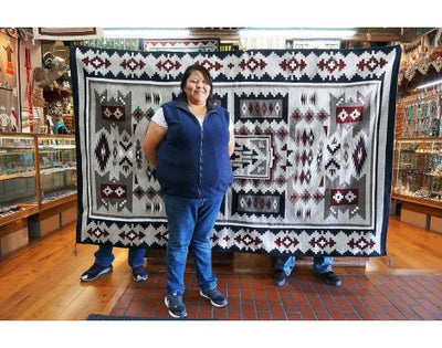 Load image into Gallery viewer, Lotia Williams,  Storm Pattern, Navajo Handwoven, 94in x 59in