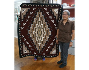 Margie Elwood, Red Two Grey Hills Rug, Navajo Handwoven, 64 in x 51 in