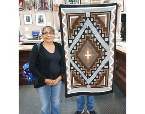 Marietta Begay, Two Grey Hills, Navajo Handwoven Rug, 30.5 in x 53.5 in