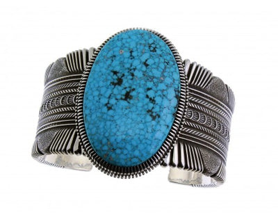 Load image into Gallery viewer, Ron Bedonie, Lg. Kingman Turquoise, Sterling Silver, Navajo, Signed 6.5