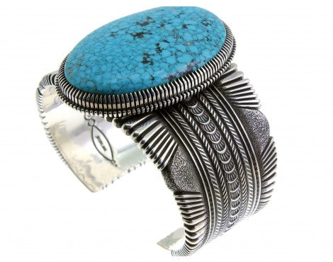Ron Bedonie, Large Kingman Turquoise, Sterling Silver, Navajo, Signed