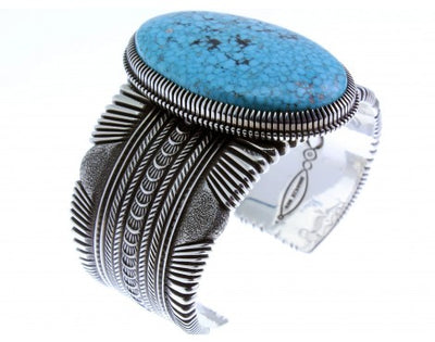 Load image into Gallery viewer, Ron Bedonie, Large Kingman Turquoise, Sterling Silver, Navajo, Signed