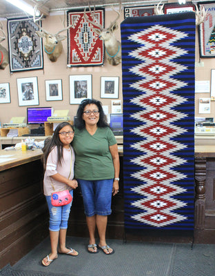 "Load image into Gallery viewer, Millie White, Eye Dazzler, Runner, Navajo Handwoven Rug,  92"" x 29.5"""