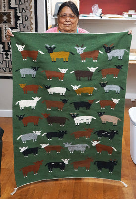 Load image into Gallery viewer, Norah Bitah, Pictorial Rug, Navajo, Handwoven, 51.5 in x 38 in