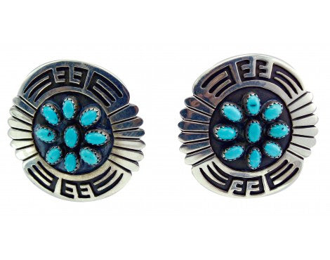 Roscoe Scott, Pierced Earrings, Kingman Turquoise, Overlay, Silver, Navajo,1.5in
