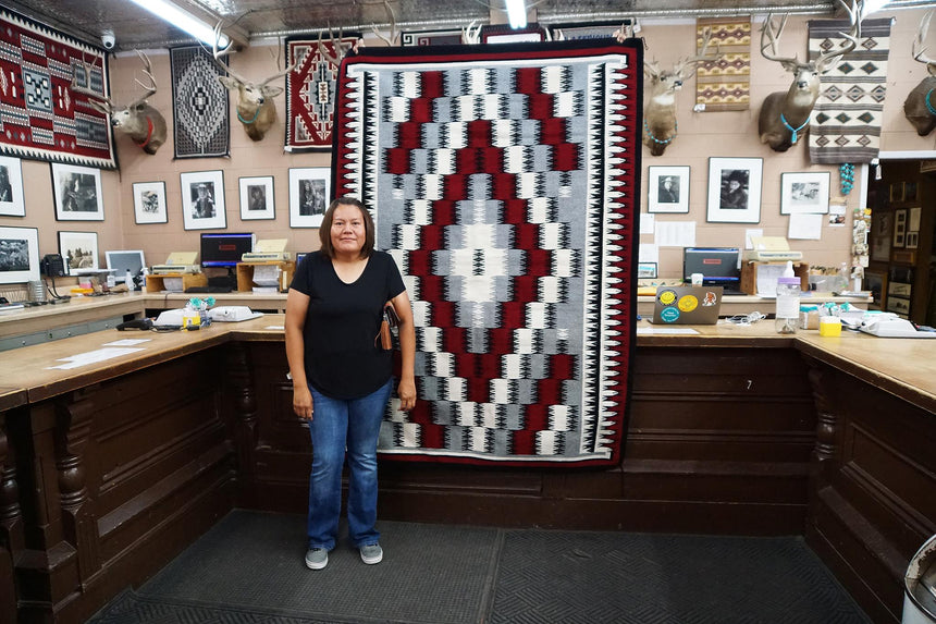 Theresa Begay, Eye Dazzler Rug, Navajo Handwoven, 59