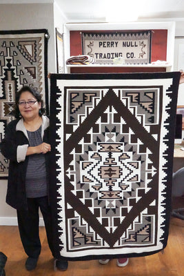 "Load image into Gallery viewer, Veronica Begay, Two Grey Hills, Rug, Navajo, Handwoven, 39"" x 62"""