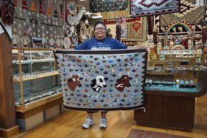 Wenora Joe, Bird/Cow Pictoral, Navajo Handwoven Rug, 39 in x 47 in
