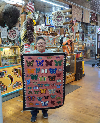 "Load image into Gallery viewer, Wenora Joe, Navajo Rug, Pictoral, Butterfly Design, Handwoven, 33"" x 44"""
