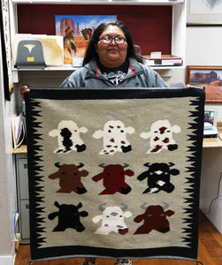 "Wenora Joe, Cow Pictoral, Navajo Handwoven Rug, 39"" x 38"""