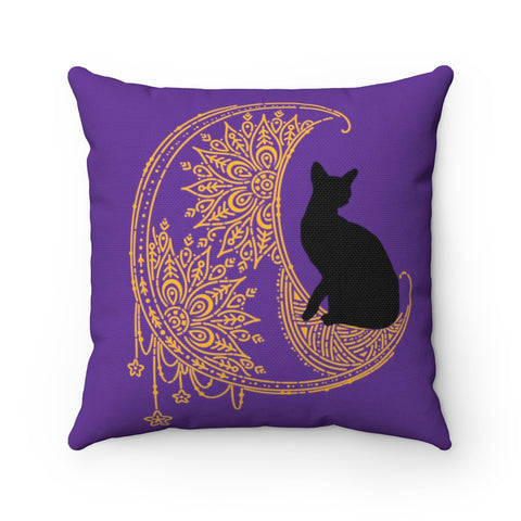 Henna Cat Spun Polyester Square Pillow Case