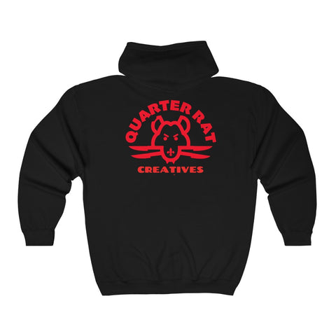 Official Quarter Rat Creatives Unisex  Full Zip Hooded Sweatshirt