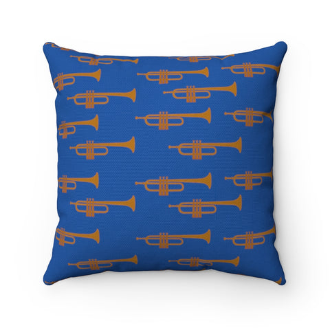 Blue Trumpet Spun Polyester Square Pillow Case