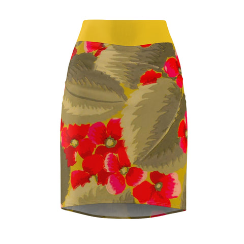 Vintage Art Deco Wall Paper Women's Pencil Skirt