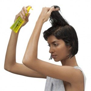 Step 1 - Spray Blown Away evenly on damp, towel dried hair, focusing mainly on roots.