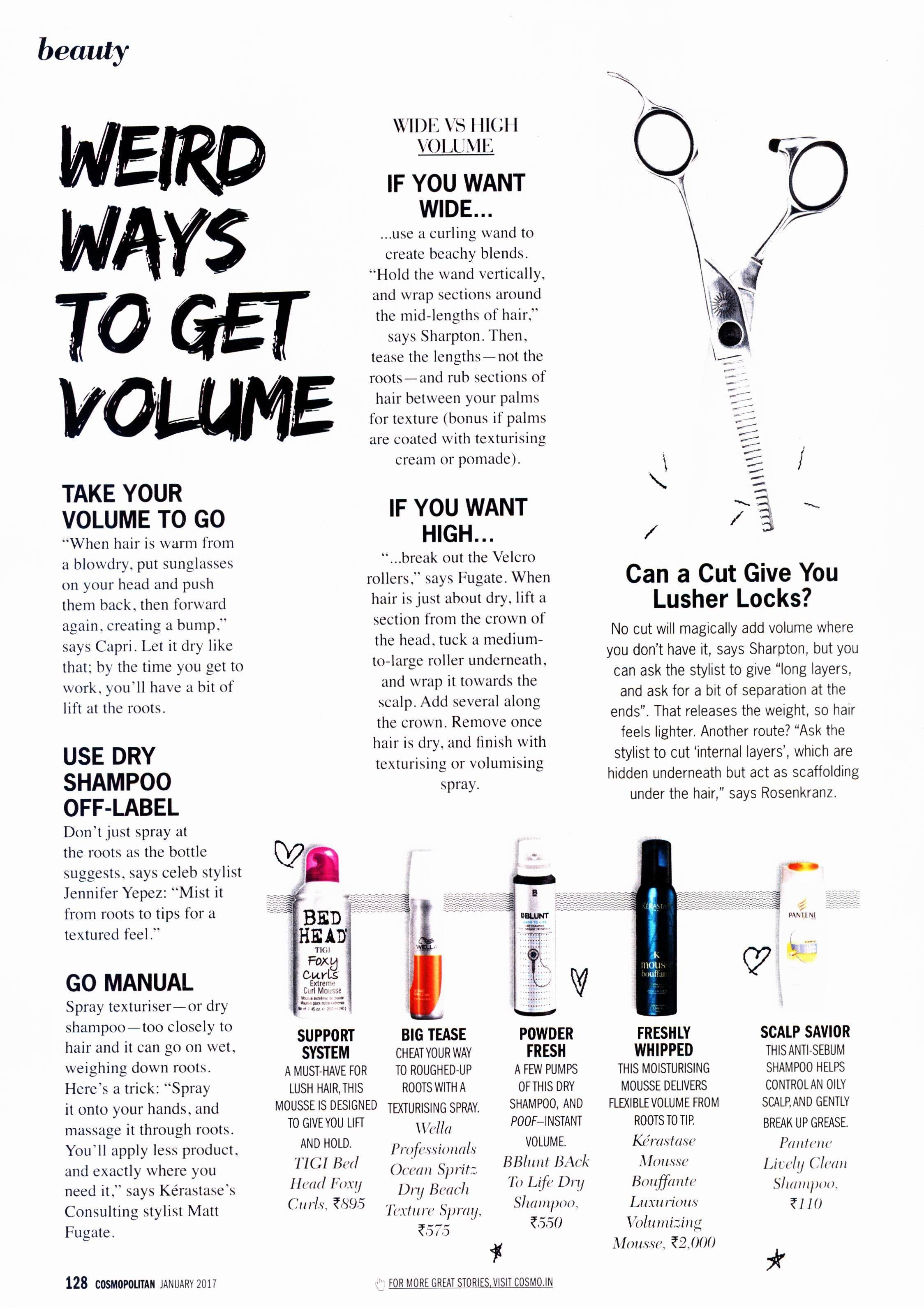 dry shampoo featured on cosmopolitan