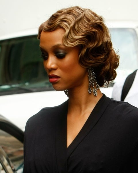 finger waves with gown for vintage look