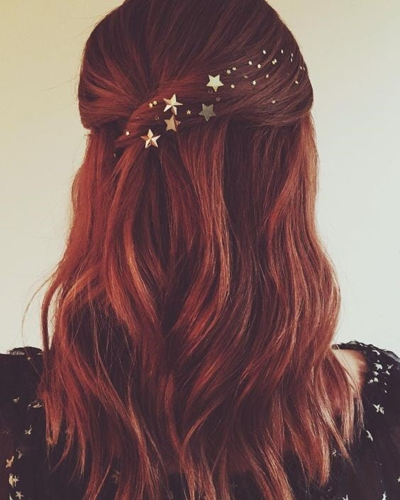 brown hair with star glitter