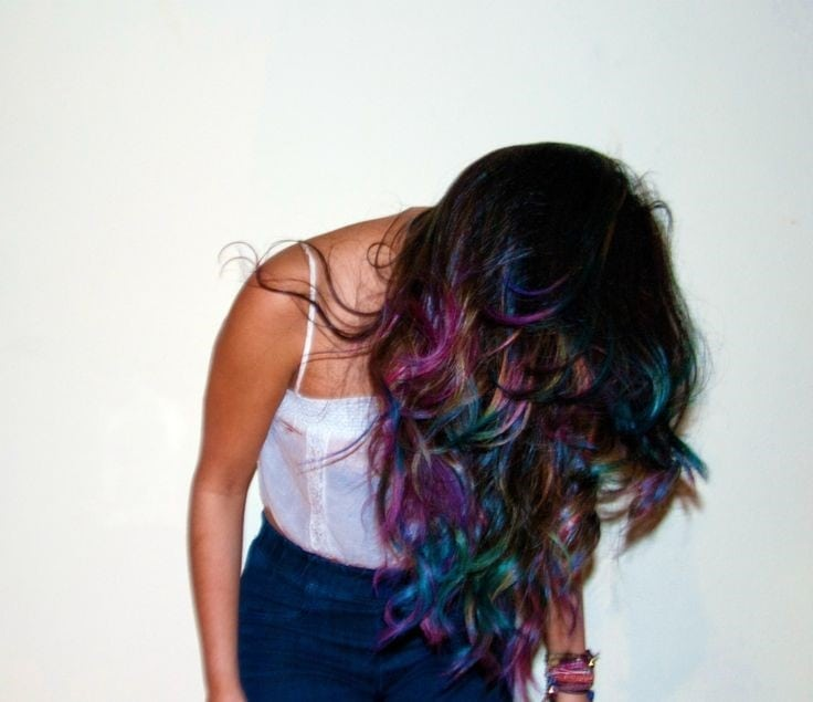 rainbow hair coloured look