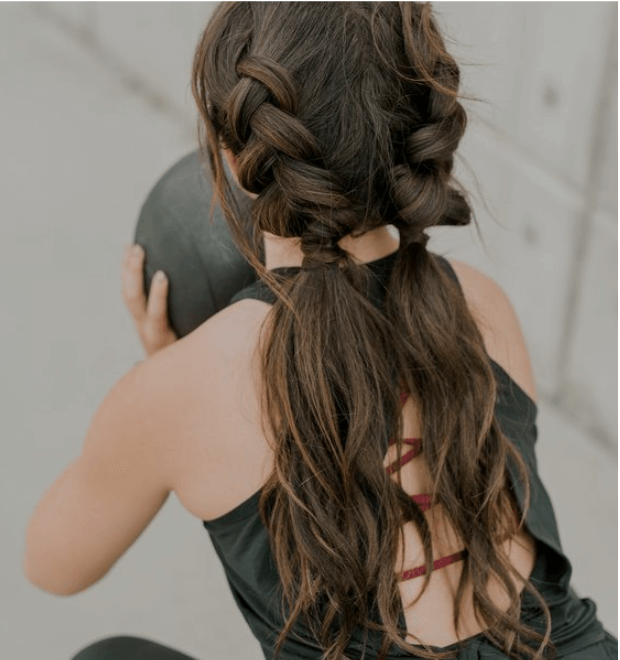 french braid ponytails for workout