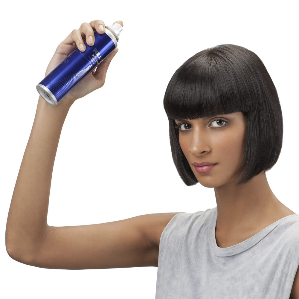 Step 2: Hold the can about six inches away from your hair and spray a light mist evenly all over. Mainly focus on the mid lengths and ends as this is where you need that shine the most.