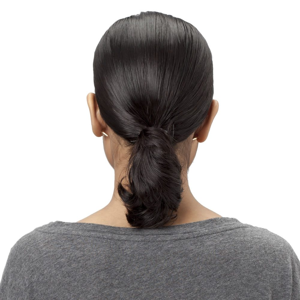 Step 1 Comb your hair well towards the back of your head, and gather it into a ponytail. Secure it with a bungee or a rubber band.
