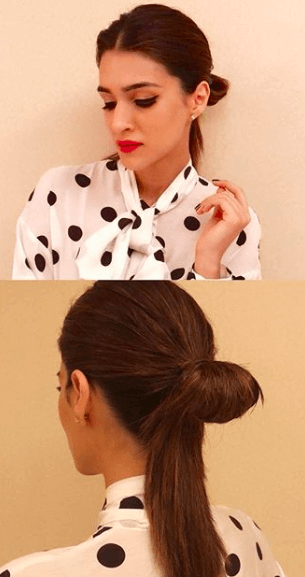 kriti sanon half-finished ponytail hairstyles