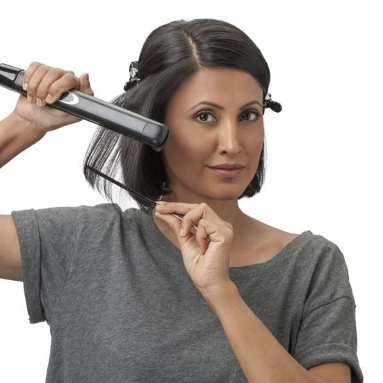 Step 4 If you want a sleeker look, you could always use a straightener to iron your hair in the same way, section by section. Try BBLUNT's Linear Professional Hair Straightener for a sleek look.
