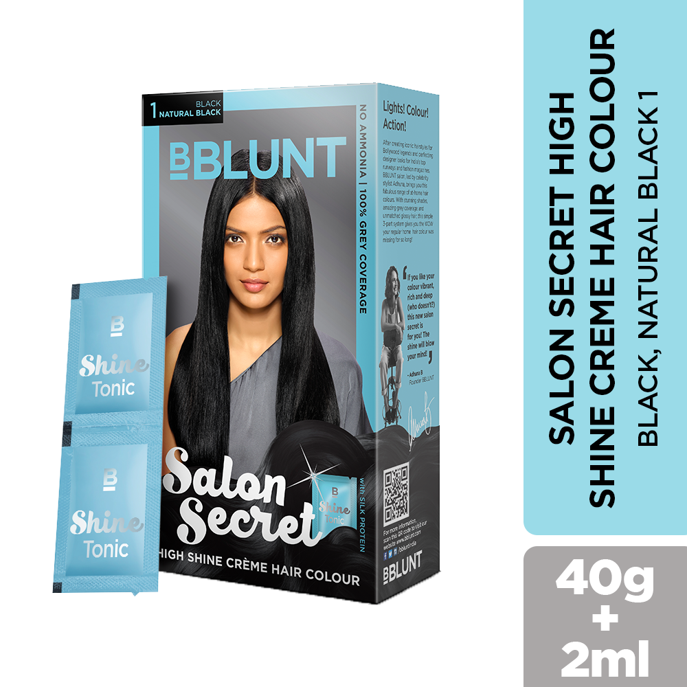 BBLUNT Salon Secret High Shine Crème Hair Colour Black Natural Black 40g