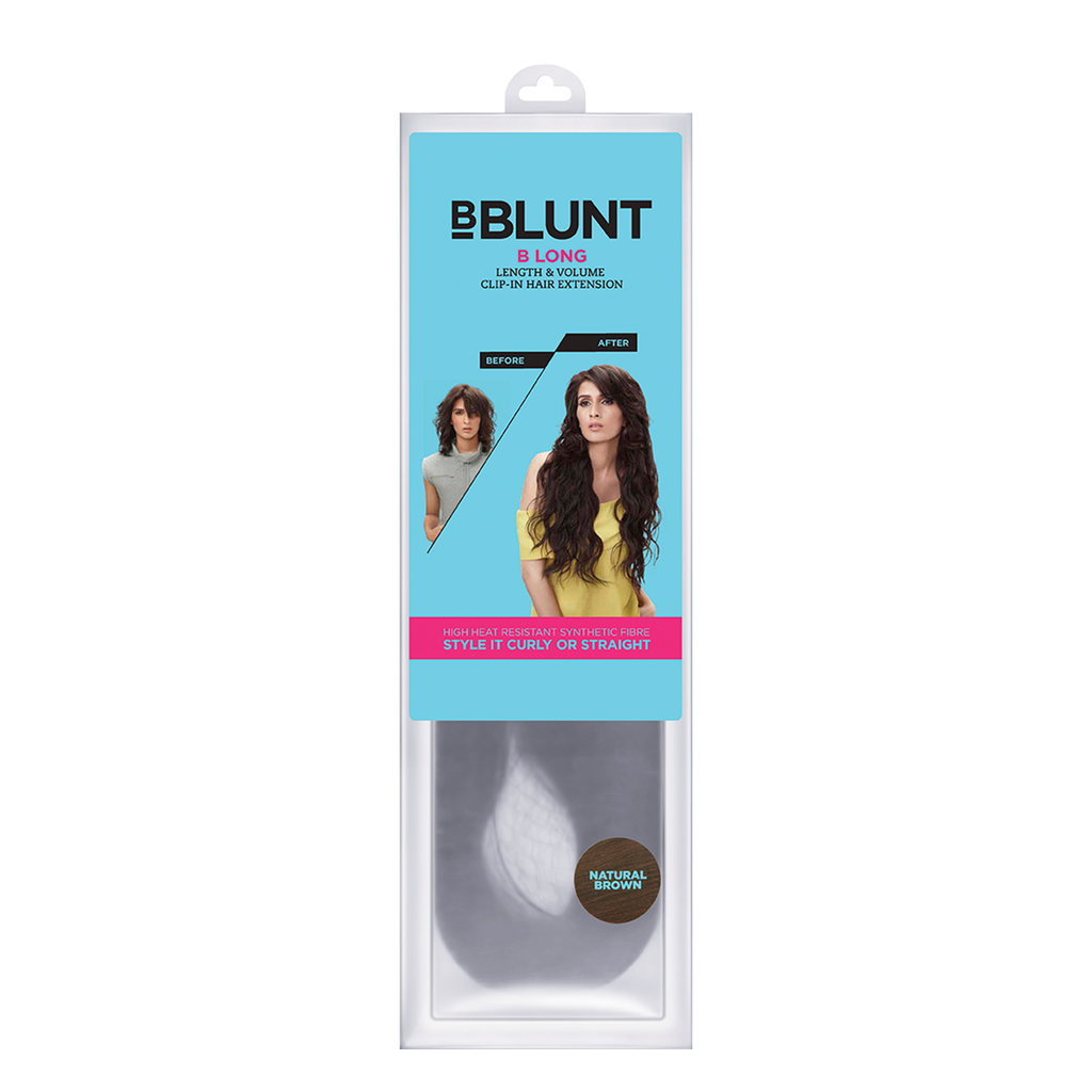 BBLUNT B Long Length & Volume Clip-In Hair Extension Natural Brown 22 Inch