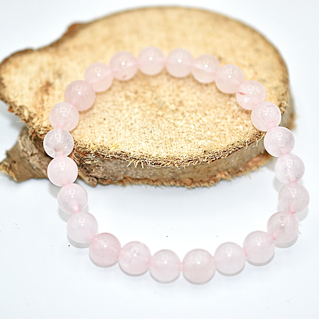 Bracelet Quartz rose perles de 8mm