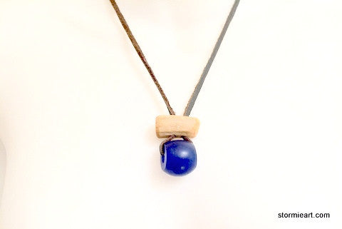 Cobalt Blue Donut Necklace