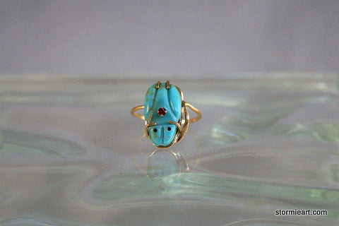 Frog on a Leaf Ring