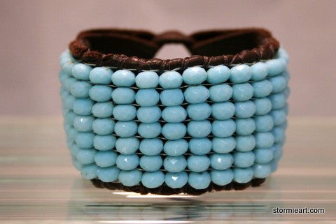 Angelite Leather Bracelet