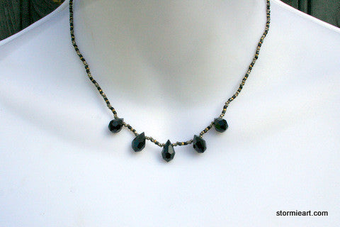 Black Teardrop Necklace